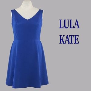 Classic Blue Faille Sleeveless V Neck A Line Dress